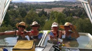 Sherry, Ellen, Carolyn, and Junebug enjoying a hot 104 degree day!