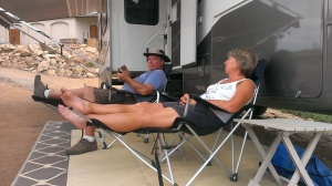 Tim and Ellen relaxing after a tough day in the vineyard