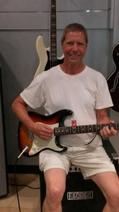 Bob playing Fender Guitar in Factory