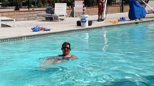Sherry soaking in the pool at Soledad Canyon Campground, CA