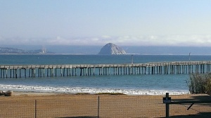 Morro Bay Rock viewed across the Cayucos Pier