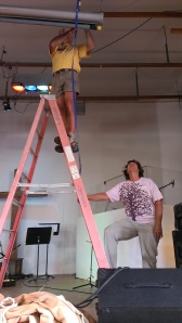 Sherry holding ladder for Roxie at Shoreline Calvary Chapel, CA