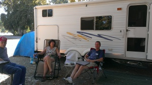 Dennis, Sherry, and Bob relaxing in Paicines, CA