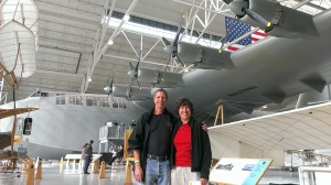 Bob and Sherry in front of the Spruce Goose at Evergreen Aviation Museum in McMinnville OR