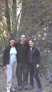 Sherry, Juan, and Maria at the Giant Spruce Tree in Hoh Rain Forest