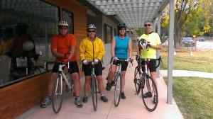 Tim, Ellen Sherry, Bob bicycling in Santa Rosa, CA