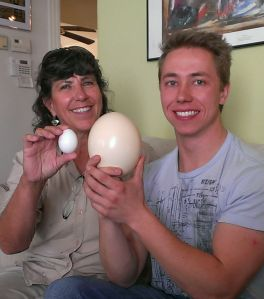 Sherry and Joe with chicken and ostrich eggs