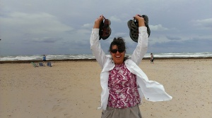 Yippee! The Gulf! Sherry on South Padres Island sand dunes