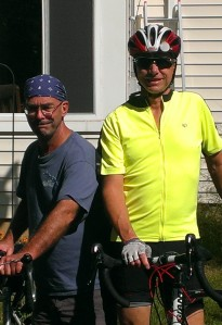Bob and Pete enjoy bicycling on a sunny day in Ohio