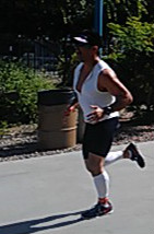 Adam racing to the finish line!