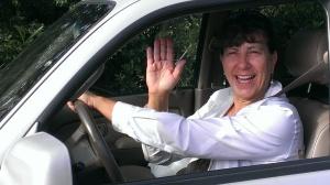 Sherry waving goodbye