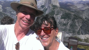 Bob and Sherry at Glacier Point with Half Dome in the background