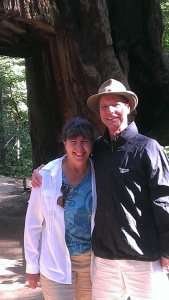 Sherry and Bob in front of a Giant Sequoia that was cut out so cars could drive thru.