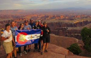 Cooler Tour enjoying sunset at Canyonlands National Park, Utah