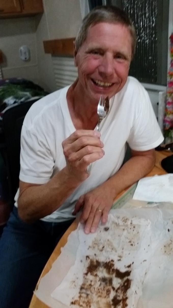 2015-12-03 18.26.37 Bob enjoying Sherrys birthday goodies from Brenna