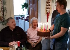 Joe presents Bev's 86th birthday cake.